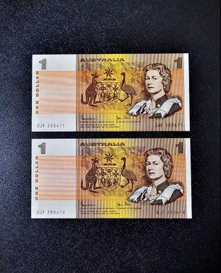 🇦🇺 1982 Australia $1 Paper Banknote~2pcs Consecutive Number Pair