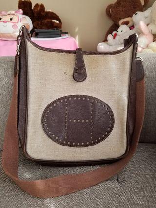 Hermès Evelyne Bicolor Messenger canvas  bag