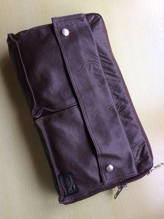 日本porter深巧克力色二用包