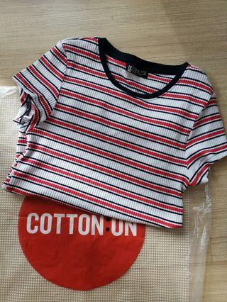 BNWOT Cotton On Ribbed Striped Top