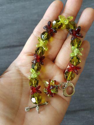 Juicy peridot & red garnet bracelet