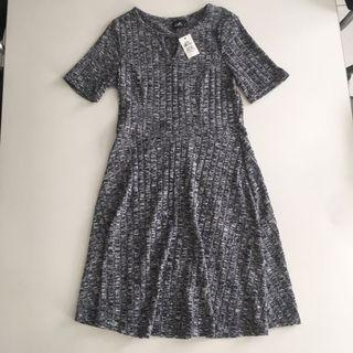 Navy Woven/Knit Spring Dress