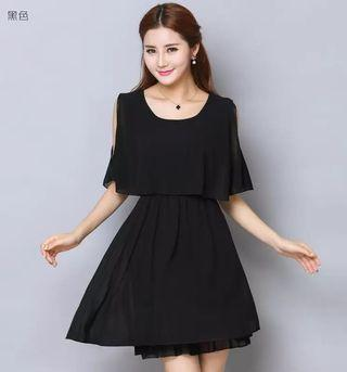 Chiffon cold shoulder layer dress in black