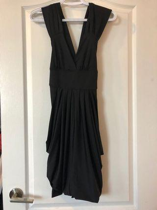 Sexy open back black dress