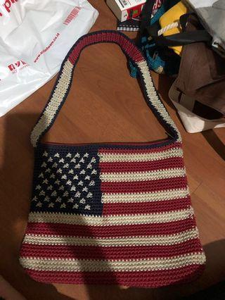 REPRICE kaboki tas rajut usa flag american slingbag