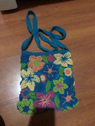 REPRICE kaboki tas rajut floral bunga sling bag