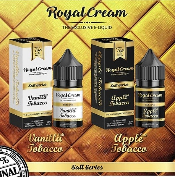 100% Original Royal Cream Salt 30ml Vanilla Apple Tobacco Vape Juice