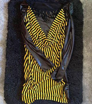 STRIPEY BLK & YELLOW DRESS