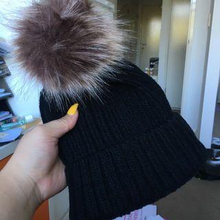 cutest black beanie with soft pompom