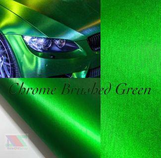 Green brushed metal vinyl sticker wrap