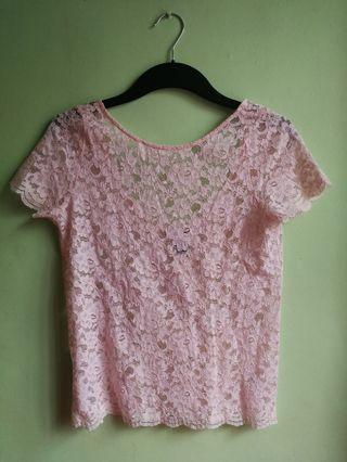 MANGO Pink Lace Blouse