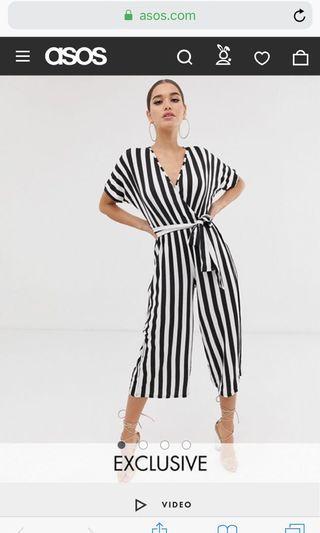 ASOS striped jumpsuit UK8
