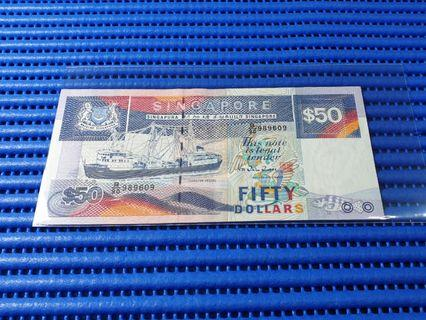 🚚 989609 Singapore Ship Series $50 Note B/90 989609 Dollar Banknote Currency 9 Head 9 Tail