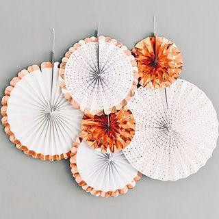 Quality Party Fans / Rosettes (Set of 6)