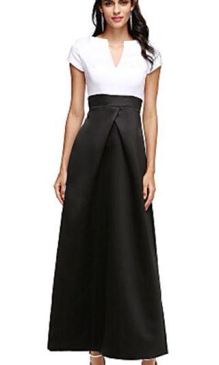 NWT Formal/Prom/Evening Dress A-Line Ankle Length Satin Color Block Sz 2/4