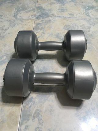 Used Kettler plastic dumbbells 8 kg per pair
