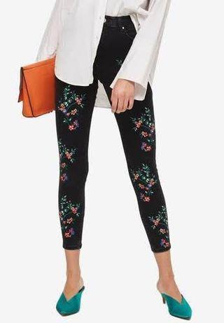 Topshop jamie embroidered jeans