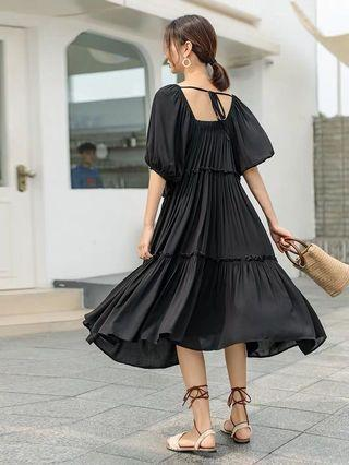 Square Collar Puff Sleeves Dolly Layers Black Dress