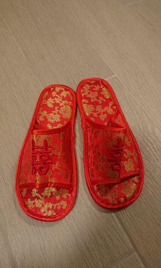 結婚用品 紅拖鞋 37至~39號