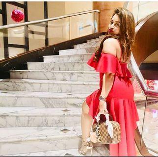 Asos red frills dress