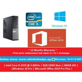 [Refurbished]Dell Optiplex 3010 SFF | i5-3470@3.2GHz | 8GB DDR3 RAM | 240GB SSD | Windows 10 Professional | Microsoft Office 2019 | 12 Months Warranty