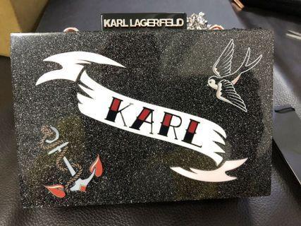 KARL LAGERFELD 硬殼 黑色亮粉 側背包 手拿包