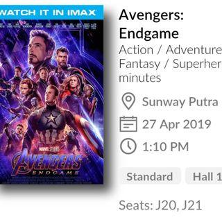 Avengers End Game Movie Tickets - 27 April 2019