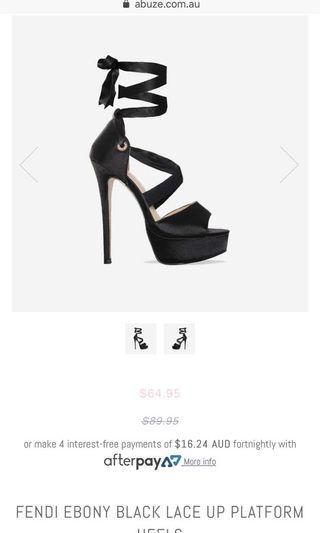 Abuze Platform Stiletto Heels Black 6 Ribbon Lace Up