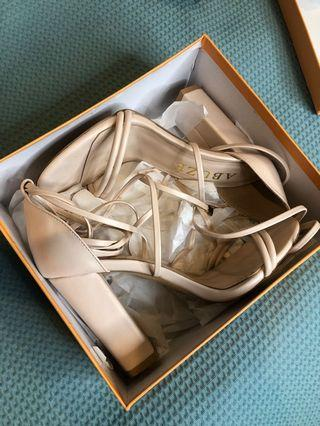 Abuze Block Heels Nude Lace Up 6