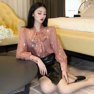 韓版復古優雅繫帶縷空雪紡上衣長袖襯衫