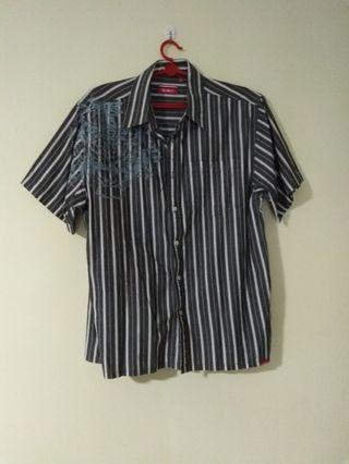 🚚 (L) Men's Striped Black And White Smart Shirt With Collar