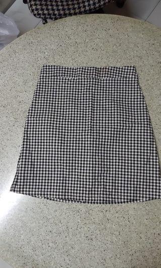 二手 黑白格 短裙