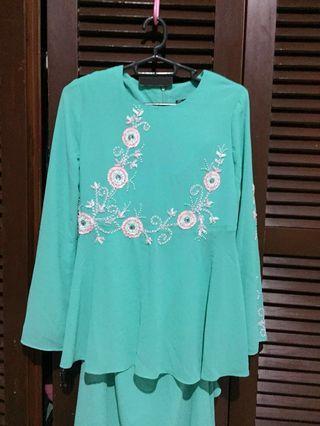 Baju Kurung Peplum Turquoise #EST50