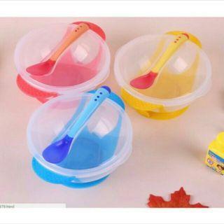 🚚 兒童吸盤碗 感溫湯匙 寶寶防滑餐碗-2個(1藍1黃)