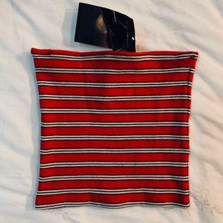 BNWT brandy Melville red and white Jenny Striped Tube TOP authentic bm