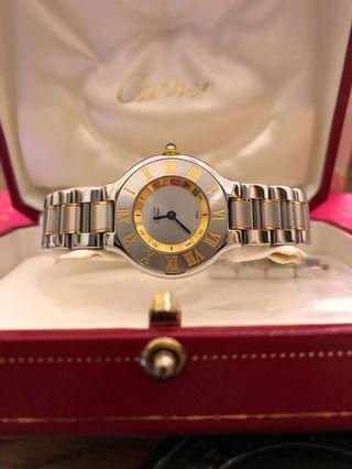 Cartier must de watch 18k yellow 95%新 (超抵)網上二手價要14000以上