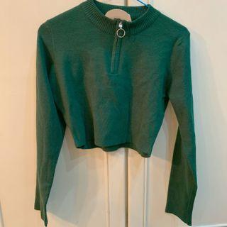 BNWT princess polly forest emerald green zip up ring Cropped Pullover TOP authentic
