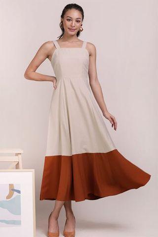 BNWT MONA COLOURBLOCK DRESS (BEIGE/RUST)