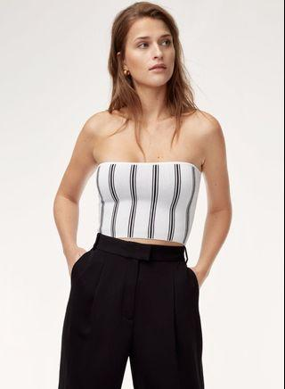Babaton tube top- navy and white