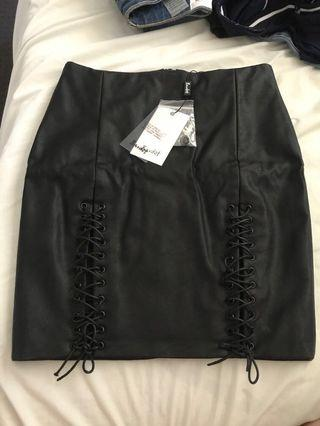 NEW Bardot lace up leather skirt