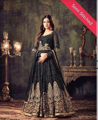 [EID SALE!] Anarkali Dress - Black Embroidered Georgette