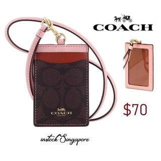 READY STOCK -AUTHENTIC - NEW COACH F57964 LANYARD ID CASE IN COLORBLOCK SIGNATURE