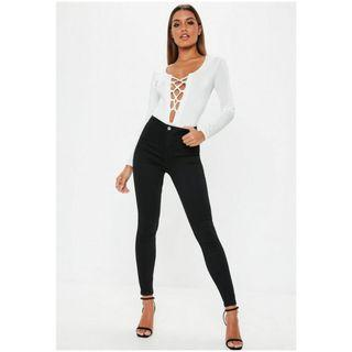 Petite Black Vice Skinny High Waisted Jeans