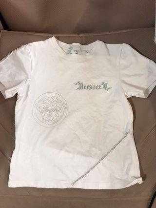 二手 versace young made in Italy top t-shirt 白色上衣 128cm 8歲 名牌 童裝