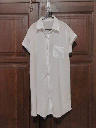 Dress Putih Polos Berkerah