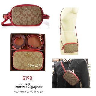 READY STOCK -AUTHENTIC - NEW  Coach CONVERTIBLE BELT BAG IN SIGNATURE CANVAS (COACH F39657) boxed set