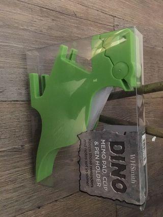 Dinosaur memo pad clip pen holder