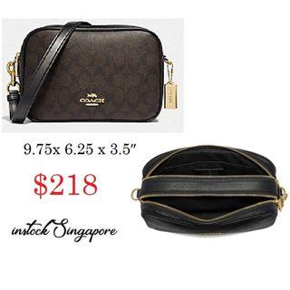 READY STOCK -AUTHENTIC - NEW  COACH JES CROSSBODY IN SIGNATURE CANVAS (COACH F68168)
