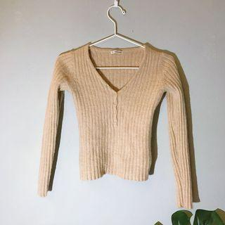 French Knitted Camel Cropped Top