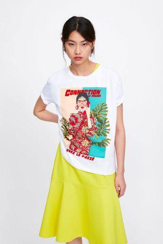 OshareGirl 04 歐美女士經典圓領童趣人物印花短袖上衣T恤